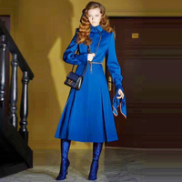 Long Dress Runway High Quality Autumn Winter New Women'S Fashion Work Party Sexy Vintage Elegant Chic Blue Long Sleeve Dresses