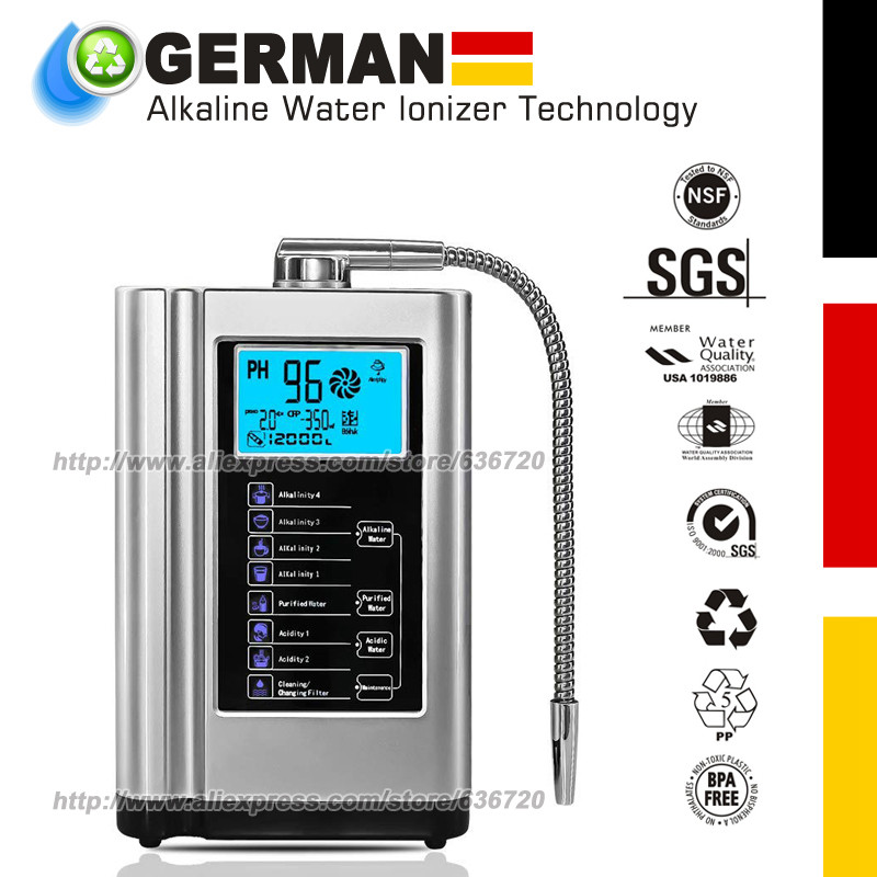 Alkaline Water Ionizer Machine Silver,Water Filtration System For Home,Produces PH 3.5-10.5 Acid Alkaline Water