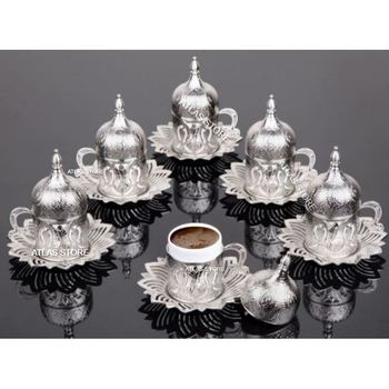 TURKISH COFFEE SILVER PATTERN 6 PERSONALİTY 24 PIECES PORCELAIN COFFEE CUP SET