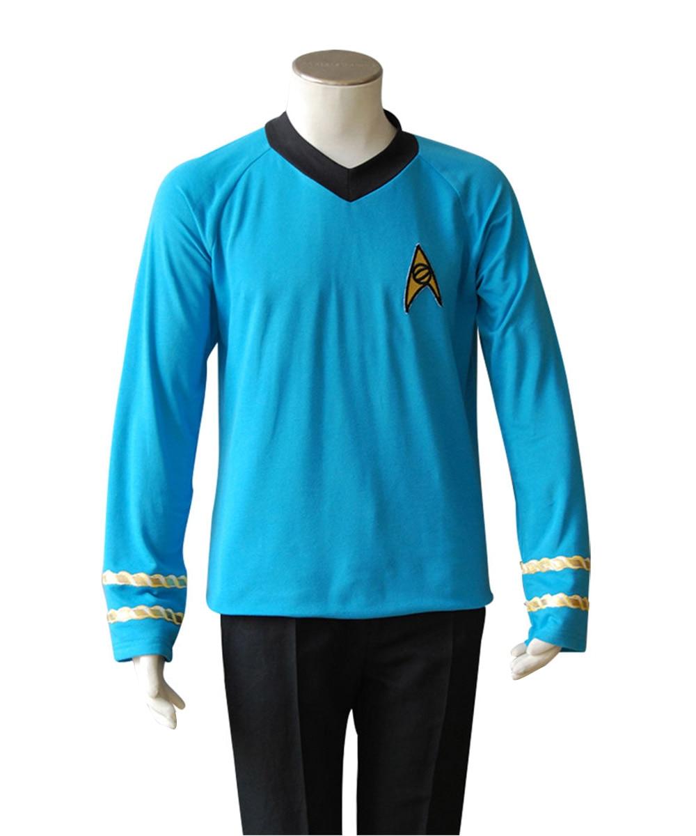 Star Cosplay Trek Costume Blue Captain Kirk Spock Shirt TOS Uniform Dress Top Men Women Adult Halloween Carnival Costume(China)