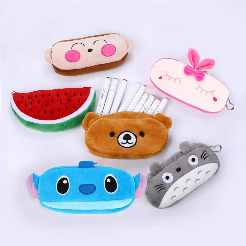 Kawaii Cartoon Pencil Case Creative Large Capacity Plush Pen Bags Box Pouch Cute Kids Gift School Stationary Supplies 04819