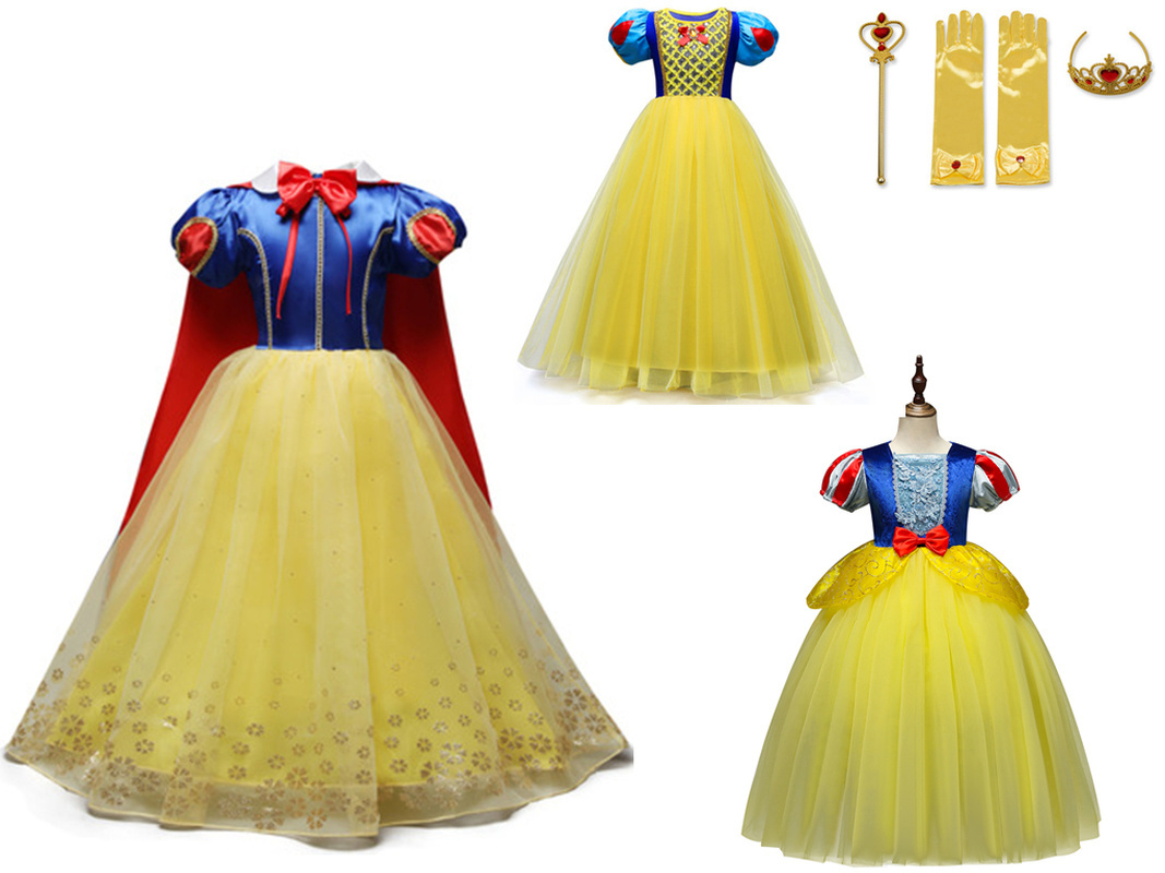 3-9 Years Fancy Cosplay Princess Snow White Costume Girls Dress For Holiday Halloween Gown Christmas Role-Play Kid Girl Clothes