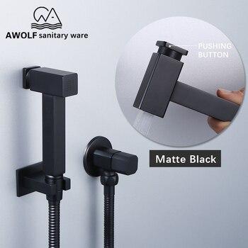 цена на Hand Held Toilet Bidet Sprayer Solid Brass Douche Kit With Pushign Button Square Shattaf Shower Set Matte Black AP2202