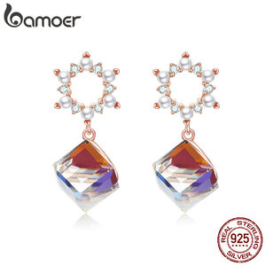 bamoer Austrian Crystal Cube Wreath Dangle Earrings 925 Sterling Silver Flower Women Wedding Statement Jewelry Gifts BSE158