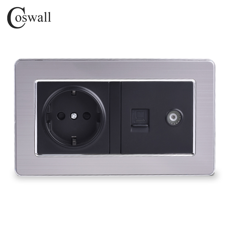 COSWALL EU Standard Wall Socket + Female TV Jack With Internet Computer Data RJ45 CAT5E Connector Stainless Steel Brushed Panel
