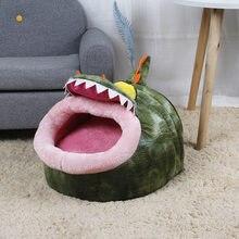 HERMOSO forma de dinosaurio invierno cálido cama para perros mascota casa para perros suave cama para mascotas, perrera perrito cojín cálido cesta moda colorido