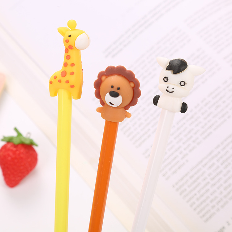 Cartoon Animal Gel Pen Cute Lion Giraffe Black Ink Signature Pen Promotional Gift Stationery School Supplies