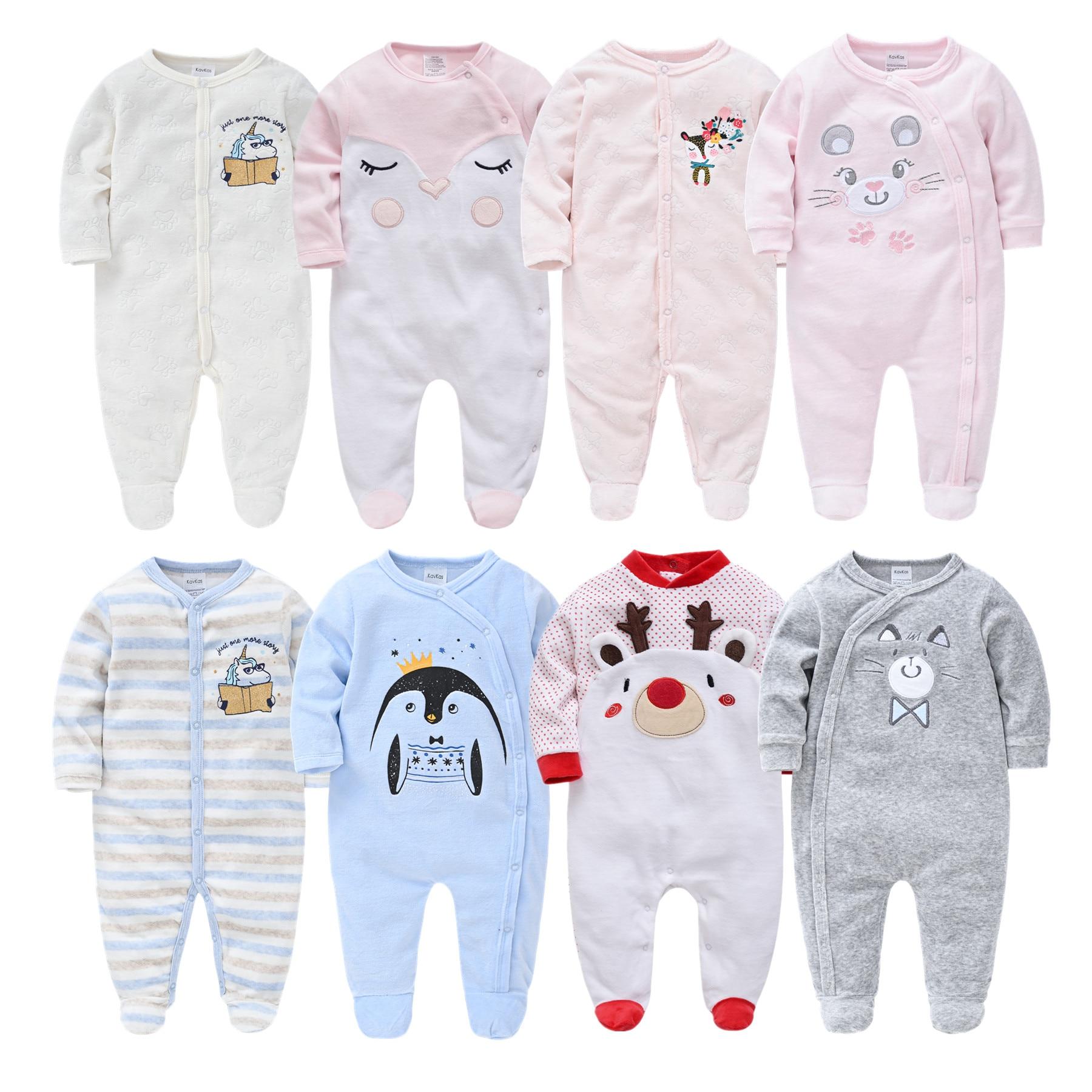 Unisex Winter Autumn Newborn Baby Rompers Pjiamas Infant Onesies Velvet Warm Jumpsuit Baby Boys Overalls Toddler Girls Clothing