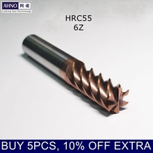 HRC55 AHNO Carbide End Mills with 6 Blades from D6.0 to D20.0 for Wood, Steel, Iron, Plastic 45 degree helix, CNC Milling Bits