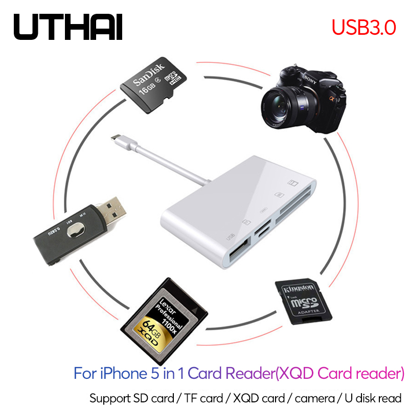 UTHAI C55 For IPhone USB3.0 Lightning XQD TF SD Card Reader 5in1 Fast Charge Usb3.0 Converter For Mouse Camera IOS13 OTG Adapter