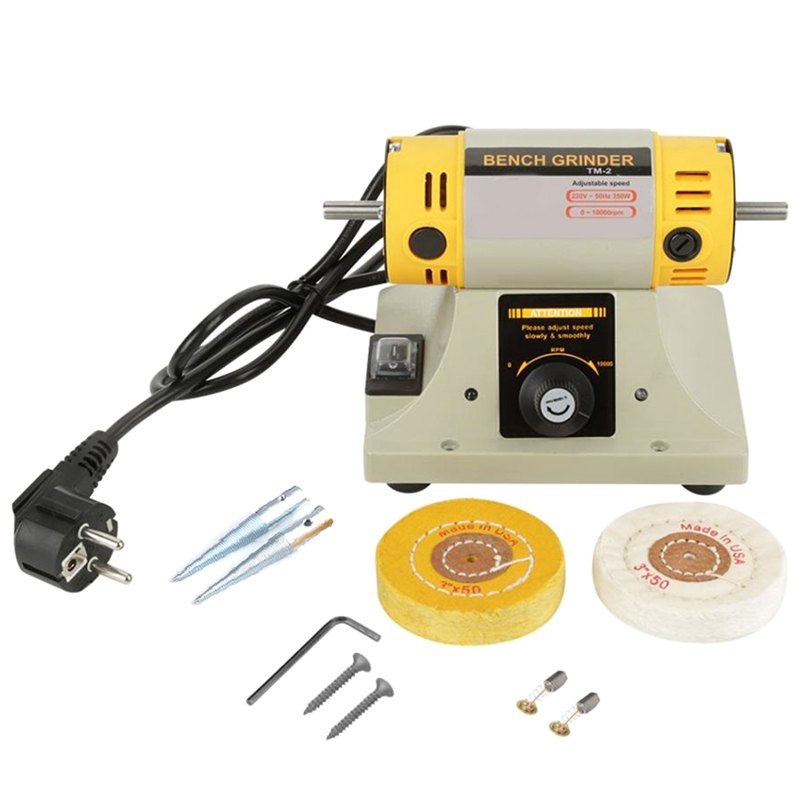 220V 350W Polishing Machine For Jewelry Dental Bench Lathe Machine Motor Grinder With Accessories(EU Plug)