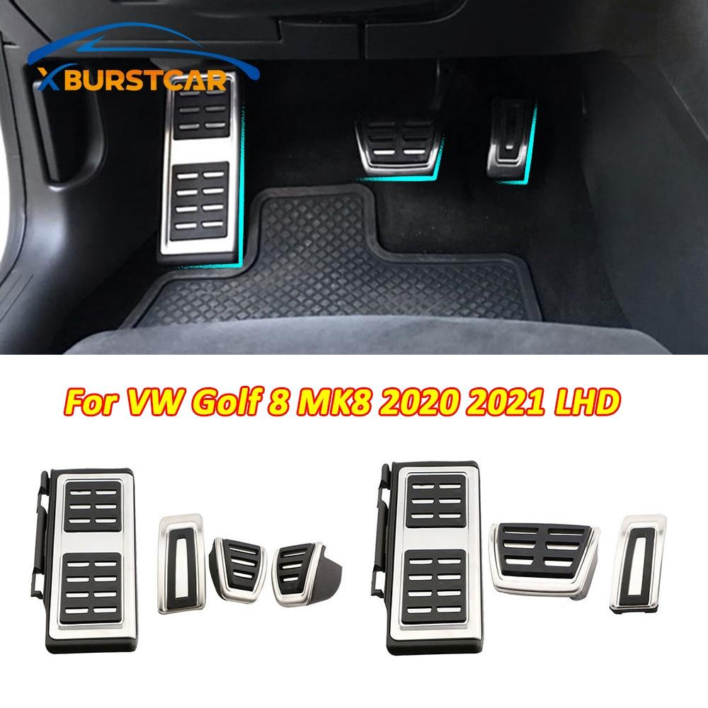 Xburstcar pedały samochodowe ze stali nierdzewnej dla Volkswagen VW Golf 8 MK8 2020 2021 LHD pedał gazu i hamulca podkładka ochronna pokrywa części