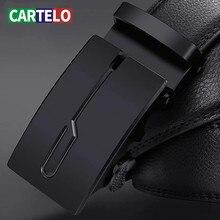 Cartel leather belt for men, metal automatic buckle, luxury brand, business belt