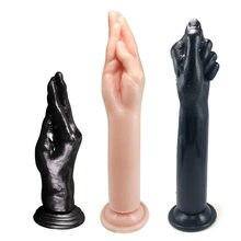 Super enorme simulação punho vibrador mão toque g-ponto anal plug masturbação vaginal tpe ventosa sexo brinquedos para unisex casal gay