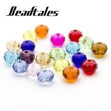 Beadtales 100 pièces/lot qualité mixte cristal clair boule ronde à facettes perles 4mm 6mm 8mm bricolage bijoux résultats accessoires