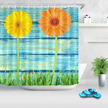 Green Grass Flower Rustic Wood Board Shower Curtains Bathroom Decor Bath Curtains Waterproof Polyester Fabric Curtain with hooks sunflower butterfly print fabric rustic wood shower curtain set yellow flower waterproof mildewproof bathroom shower curtains