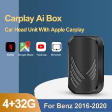 Беспроводной автомобильный радиоприемник Carplay с 4 + 32 ГБ android, автомобильная поддержка телефона, литой медиабокс для Mercedes Benz Carplay Ai Box