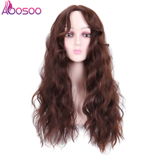 long curly wig with mid part bangs Synthetic Curly