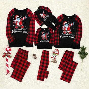 Feliz navidad ropa de navidad pijamas de navidad familiar adulto de la familia de los niños juego de ropa de navidad familia ropa de dormir пижама