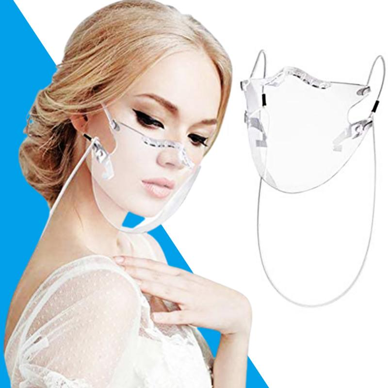 1PC Transparent Face Mask With Lanyard Reusable Washable Anti Dust Anti Splash Outdoor Cycling Half Cover Face Shield TSLM1 1