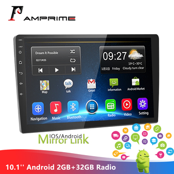 AMPrime 10.1'' Android 2GB+32GB Car multimidia Player 2 din Car Radio Mirror link GPS Stereo MP5 Bluetooth WIFI FM Autoradio image