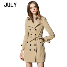 JULY 2019 British Style Elegant Female Long Coat Autumn Winter Trench Coat for Lapel double-breasted women's windbreaker jacket цена 2017