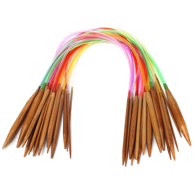 Practical Boutique 18 Pairs 16inch Multicolor Carbonized Bamboo Circular Tube Knitting Needles 40cm