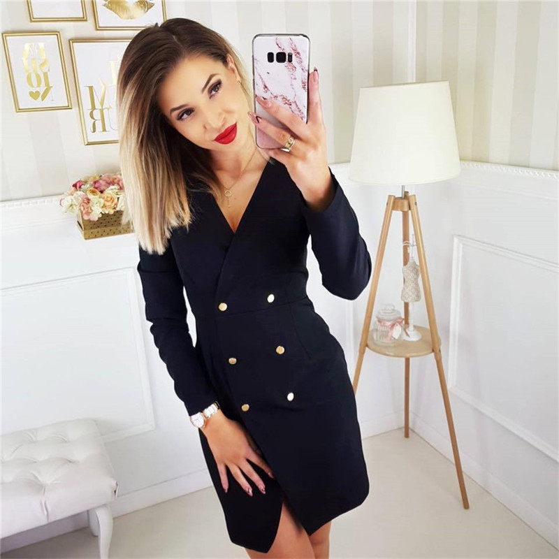 Fashion Women Sexy V Neck OL Blazer Dress Eelgant Ladies Winter Bodycon Office Lady Slim Suit Top Dames Black Outwear Streetwear