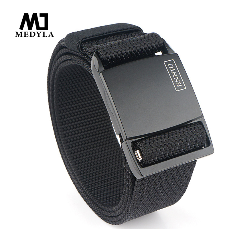 Medyla New Technology Magnetic Buckle Tactical Belt Soft Nylon Fast Release Buckle Unisex Sports Belt Jeans Casual Pants Belt