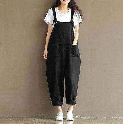 Fashion Women Girls Loose Solid Jumpsuit Strap Dungaree Harem Trousers Ladies Overall Pants Casual Playsuits Plus Size M-3XL
