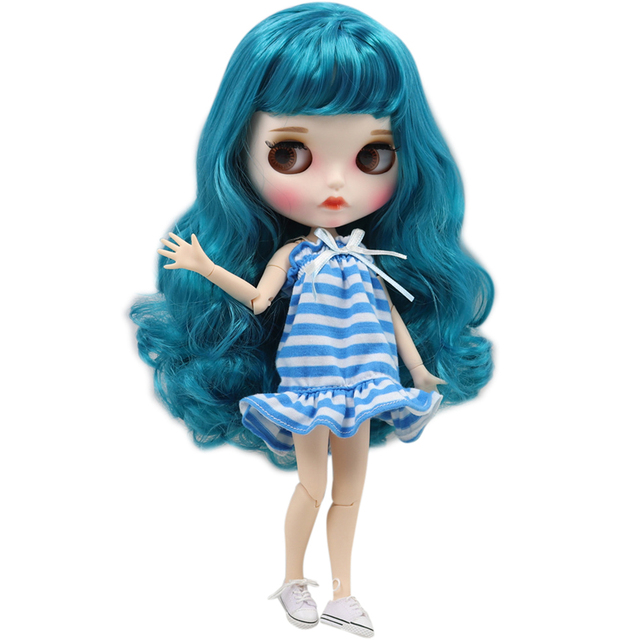 Blyth doll white skin Blue long curly hair 1/6 JOINT body new matte face with eyebrows Lip gloss ICY DIY toy