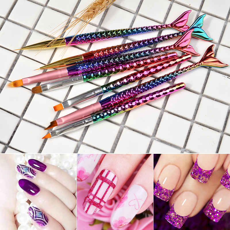 7 Style 3D Nail Art Drawing PenManicure Tools Gradient Nail Art Painting Liner Brush Mermaid Handle UV Gel Polish in Nail Brushes from Beauty Health