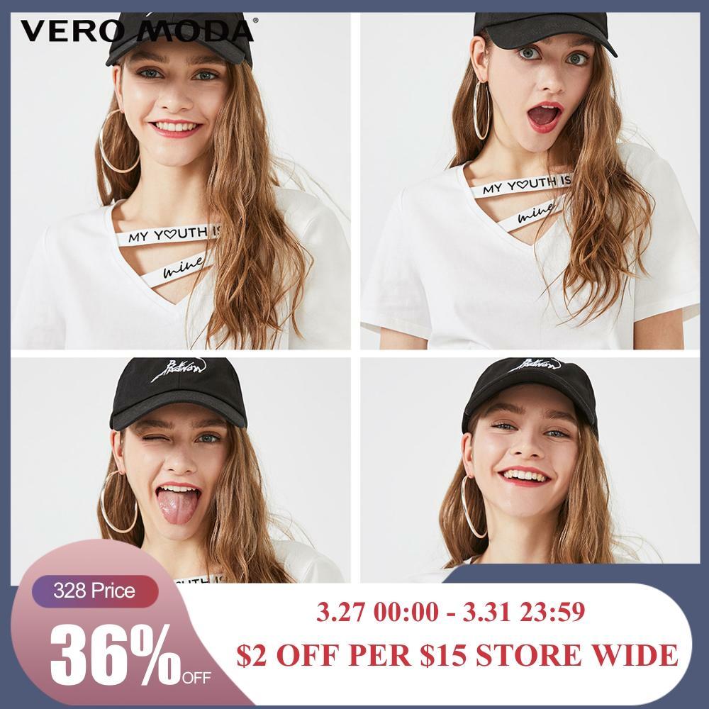 Vero Moda Women's Cut-outs V-neckline Letter Print Short-sleeved 100% Cotton T-shirt | 319201634