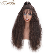 цена на Vigorous Synthetic Lace Front Wig with Ponytail Yaki Straight Wigs for Black Women Brown Mix Blonde U Lace Wig with Baby Hair