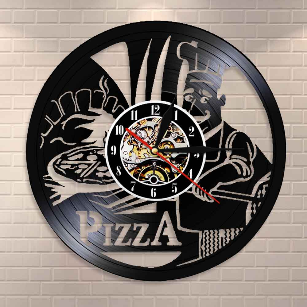 Pizza Time Wall Watch Pizzeria Gastronome Wall Sign Pizza House Pizza Maker Wall Clock Pizza Kitchen Wall Clock Modern Design