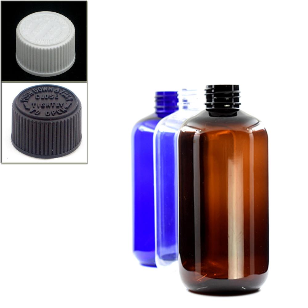250ml Empty Boston Round Plastic Bottles,blue/amber/ Transparent PET Bottle With White/black Child Resistant Caps,safety Lid