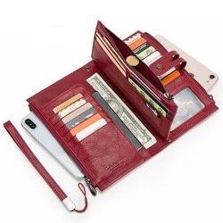 Женский кошелек из натуральной кожи, модный длинный клатч на молнии, кошелек для монет, Обложка для паспорта, держатель для карт