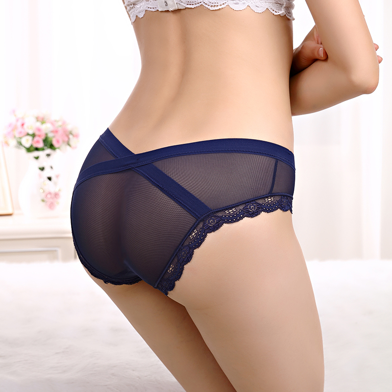 Женские сексуальные трусики, французское ажурное Сетчатое кружевное нижнее белье, дышащие прозрачные бесшовные Однотонные трусы