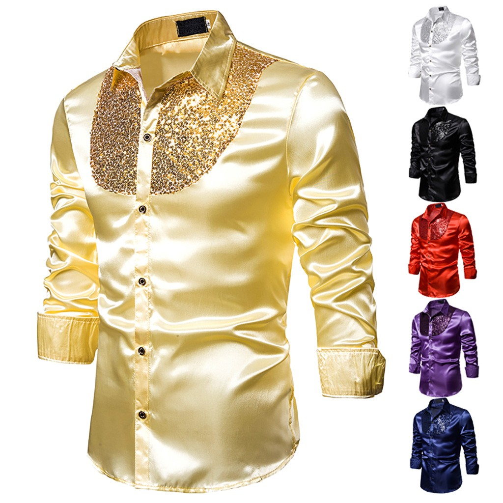 Men/'s Shiny Silk Feel Sequin Shirt Blouse Top Stage Party Wet Look Long Sleeve