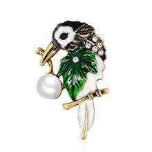 Animal Crystal Imitation Pear Enamel Oriole Bird Brooch Pins Men Women's Alloy Bird Brooches For Suits Dress Banquet Brooch Gift pulatu personalized enamel simulate pearl bird brooch b1l5 7