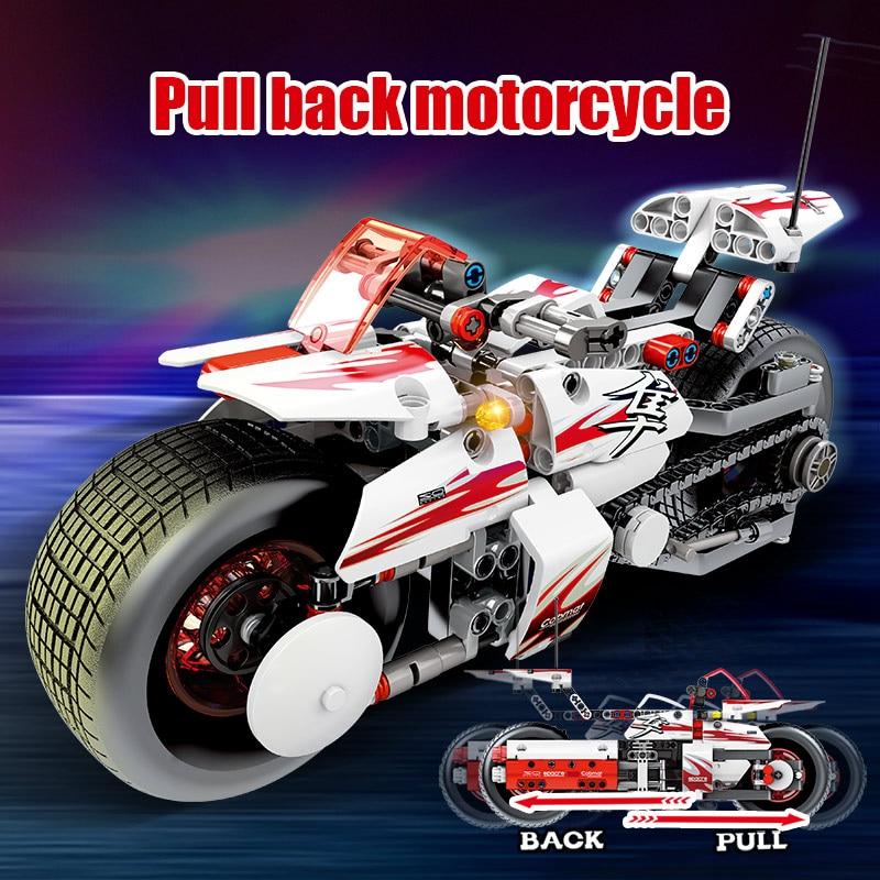 392pcs City Pull Back Off-road Moto Model Building Blocks Legoingly Technic Motorcycle Assemble Bricks Educational Toys For Boys 2