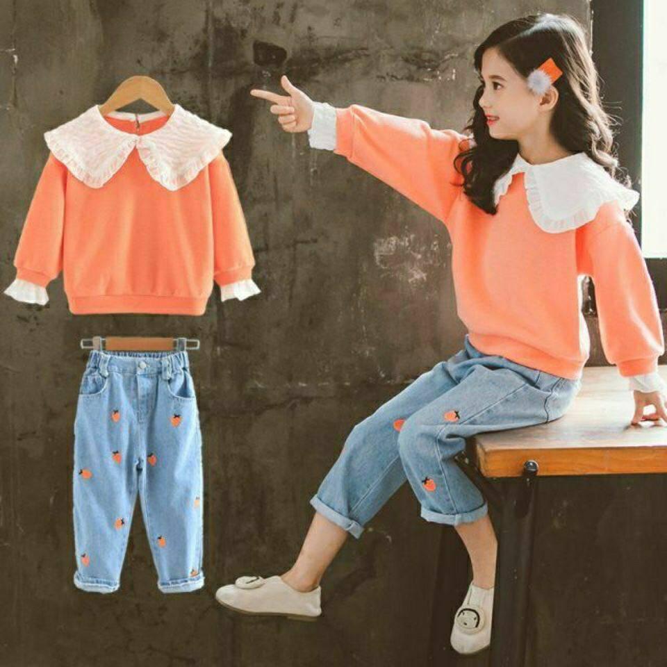 2021 весенние и осенние футболки с длинными рукавами, толстовка + штаны, комплекты из двух предметов повседневные милые наряды для девочек в в...