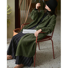 SCUWLINEN 2021 Spring Autumn Women Jacket Casual Artsy Thick Corduroy Notch Lapels Loose Long Chic Trench Normcore Coat S1101-1