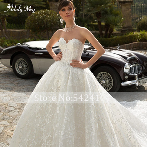 Image 5 - Adoly Mey Glamorous Appliques Royal Train Lace Ball Gown Wedding Dress 2020 V Neck Beaded Off the Shoulder Princess Bridal Dress