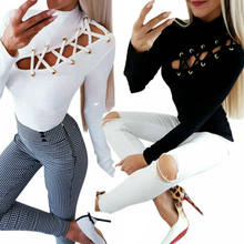 Damskie sexy Slim fit koszulki z długim rękawem Lace-Up oczko drążą koszulka wysokiej szyi koszulki z krótkim rękawem topy Slim Stretch damskie Tee Top