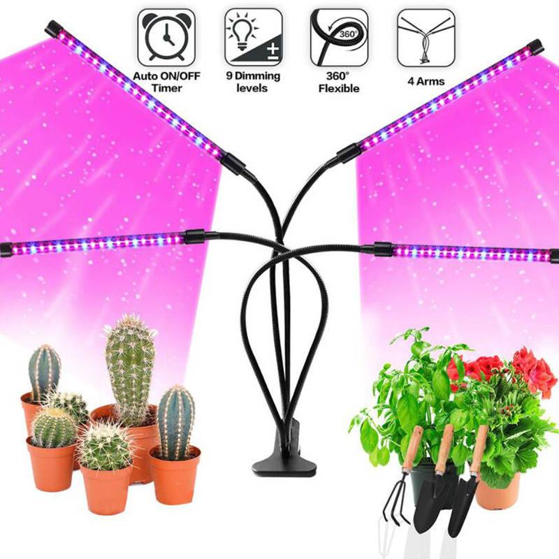 12W 14W 16W LED Grow Lamp Full Spectrum 2/3/4 Head Grow Light 40/60/80 LED Chips Plant Light With Timer 360°Adjustable Gooseneck