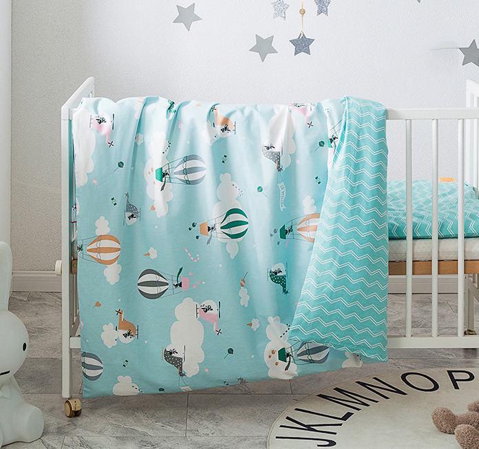 2Pcs Baby Bedding Set 100% Cotton Crib Bed Linen Kit Cartoon Animal Includes Pillowcase Duvet Cover Without Filler