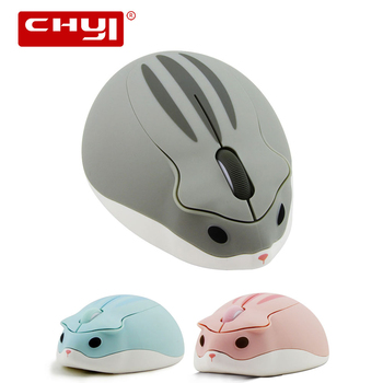 CHUYI 2.4G Wireless Mouse Pink Usb Optical Computer Mouse 1200 DPI Cute Cartoon Hamster Design Mini PC Mice For Kid Girl Gift