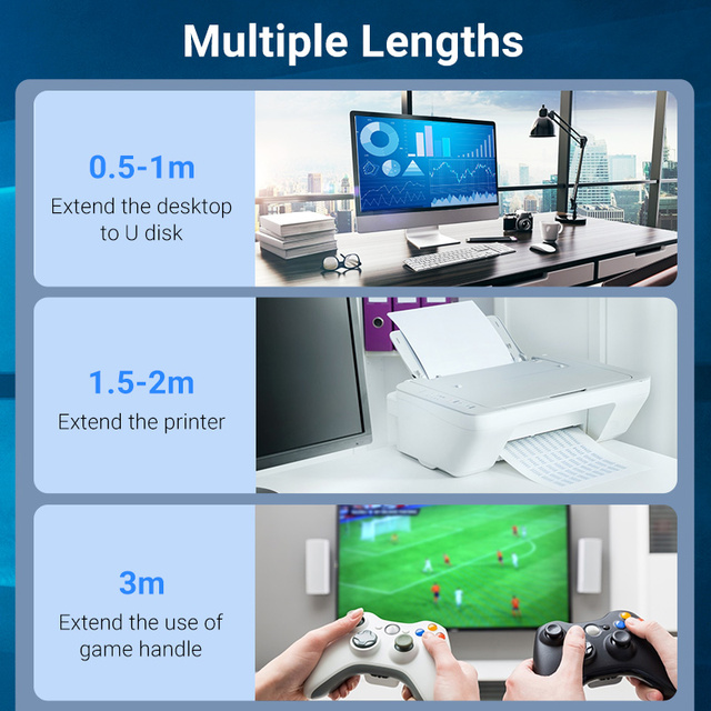 Vention USB 3.0 Extension Cable USB 3.0 2.0 Cable Extender Data Cord for PC Smart TV Xbox One SSD Fast Speed USB Cable Extension 5