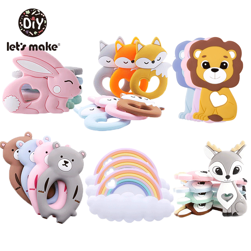 Safe Soft Baby Silicone Teether Teething Toy Animal Ring Teethers Pacifier Chain